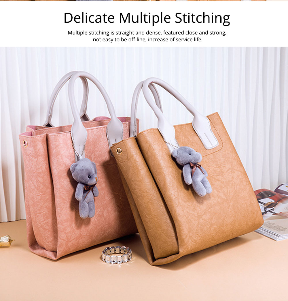 3pcs Creases PU Leather Tote Bag & Cross Body Pouch & Card Bag, Lady Accessories Solid Shoulder Pack Sets 7