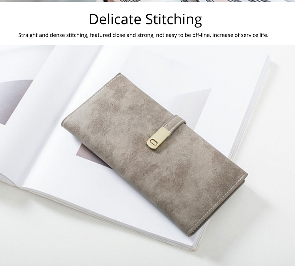 Vintage Lady Handbag Frosted PU Leather Wallet Card Holder Mini Purse, Metal Magnetic Buckle Belt Long Clutch Evening Party Dinner Bag 12
