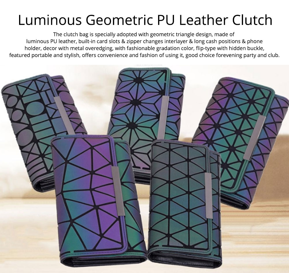 Triangle Long Wallet, Unique Luminous Geometric Embossing Lady Clutch Bag, PU Leather Lady Handbag Card Holder Phone Purse 7