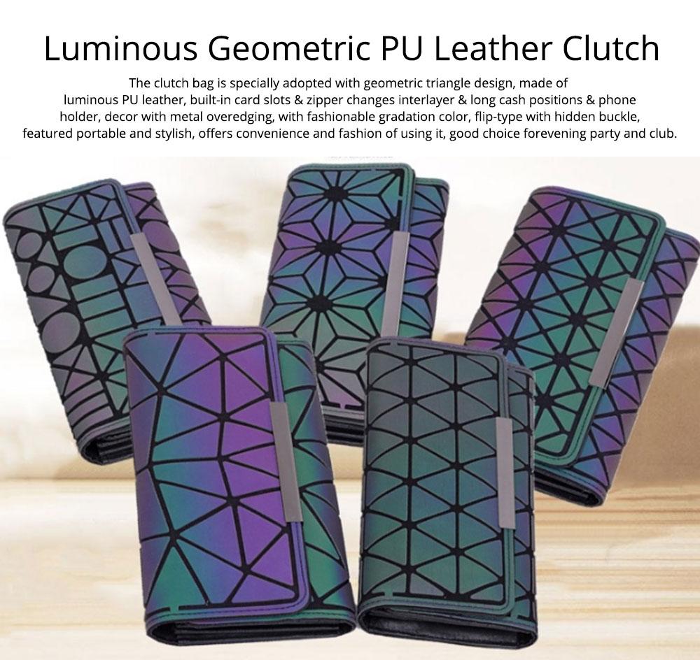 Triangle Long Wallet, Unique Luminous Geometric Embossing Lady Clutch Bag, PU Leather Lady Handbag Card Holder Phone Purse 0