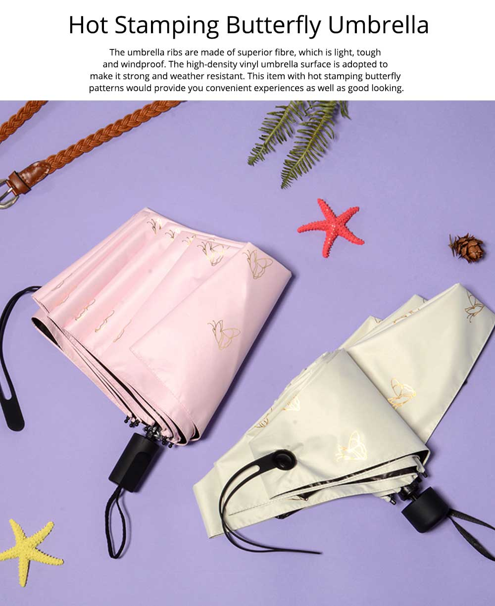 Triple or Five Folding Umbrella With Creative Hot Stamping Butterfly, Portable Folding Compact Umbrella for Sunny Rainy Days 0