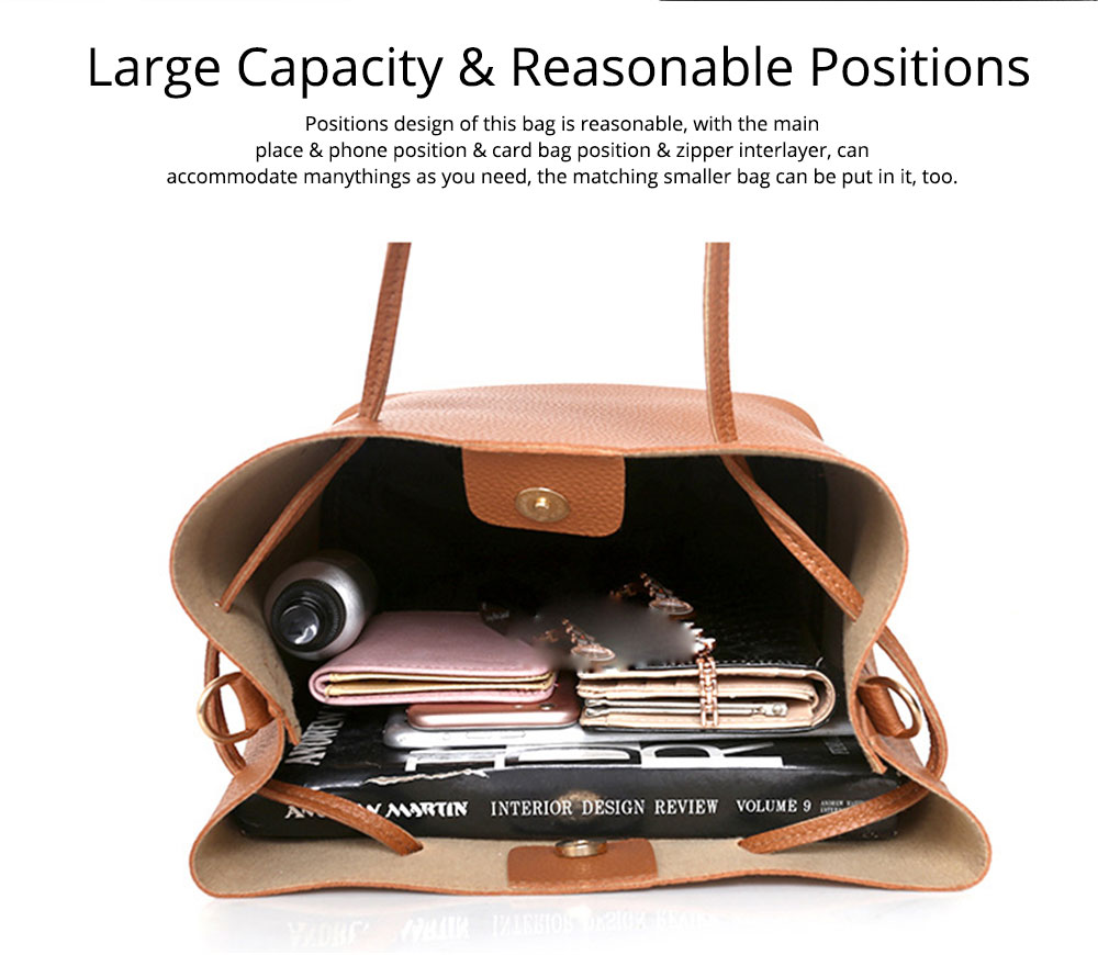Solid PU Leather Bucket Bag, Cross Body Pouch, Strapped Clutch, Card Bag, Elegant Lady Accessories Bag Sets 4PCS 7