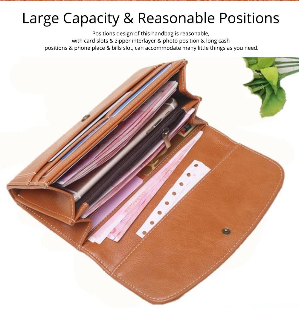 Sunflower Lady Handbag, Flip-type Wallet Card Holder Mini Purse, Metal Overedging Long Clutch Evening Party Bag 3
