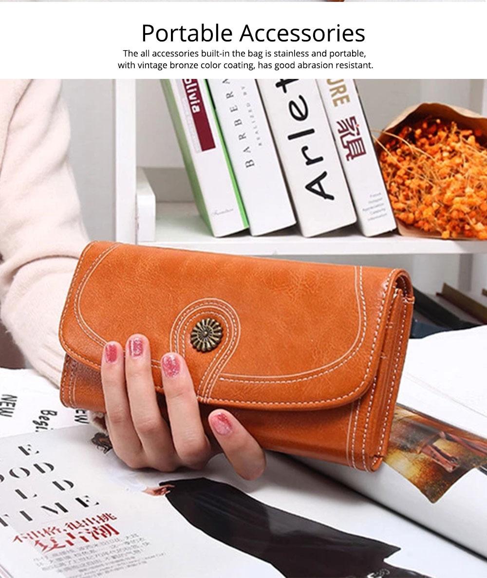 Sunflower Lady Handbag, Flip-type Wallet Card Holder Mini Purse, Metal Overedging Long Clutch Evening Party Bag 1