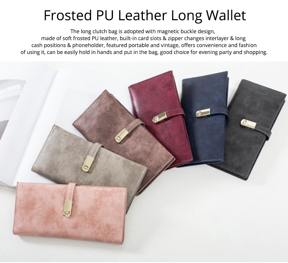 Vintage Lady Handbag Frosted PU Leather Wallet Card Holder Mini Purse, Metal Magnetic Buckle Belt Long Clutch Evening Party Dinner Bag 7