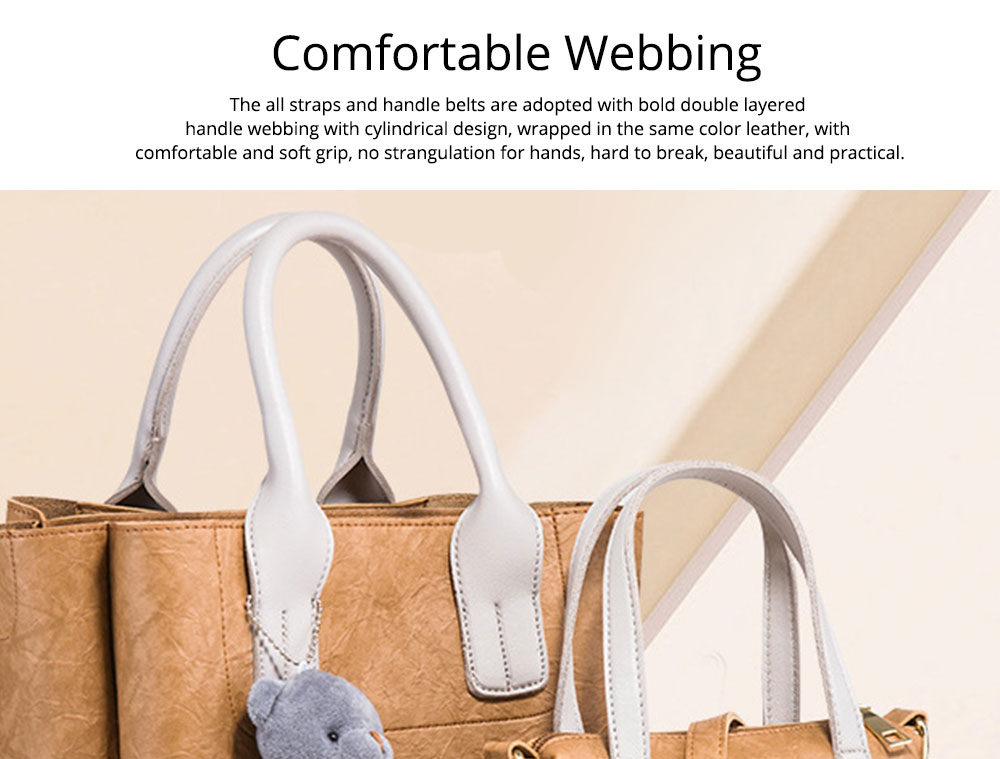 3pcs Creases PU Leather Tote Bag & Cross Body Pouch & Card Bag, Lady Accessories Solid Shoulder Pack Sets 6