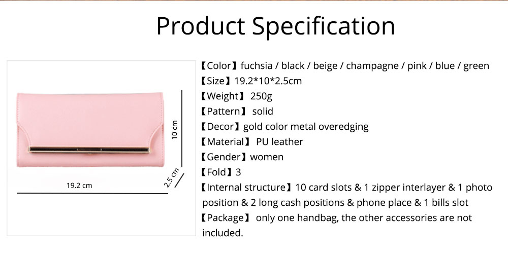 Chic Women Handbag, Metal Overedging Long Clutch Evening Party Bag Mini Purse 7