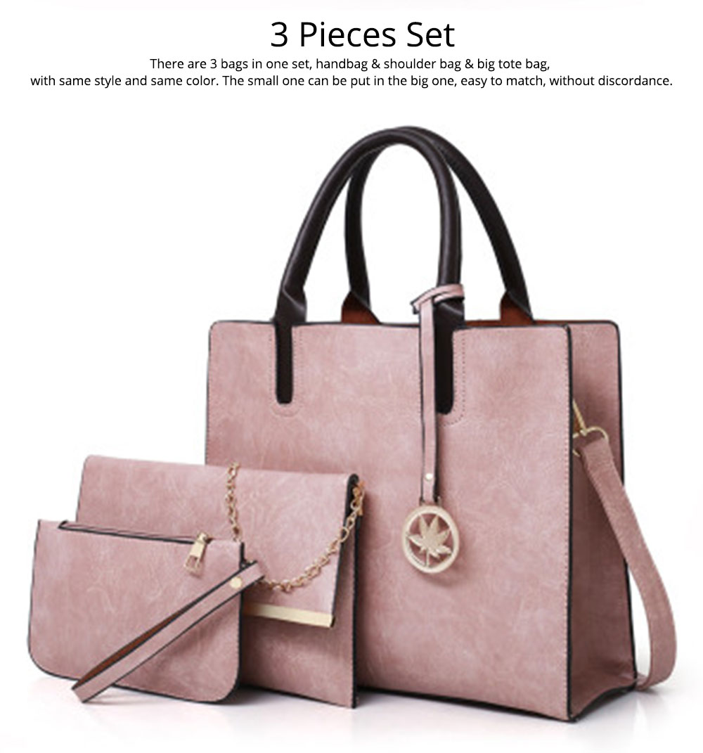 Ladies Handbag Set - Frosted PU Leather Lady Handbag & Shoulder Bag & Tote, Fashion Satchel Slim Purse 3PCS 1