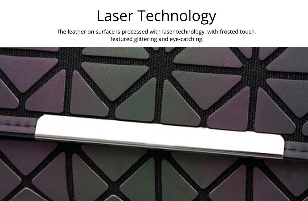 Triangle Long Wallet, Unique Luminous Geometric Embossing Lady Clutch Bag, PU Leather Lady Handbag Card Holder Phone Purse 3