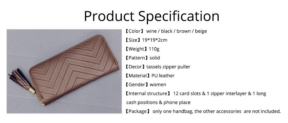 Women Handbag Business PU Leather Wallet, Zipper Tassels Card Holder Mini Purse Long Clutch, Casual Phone Bag 8