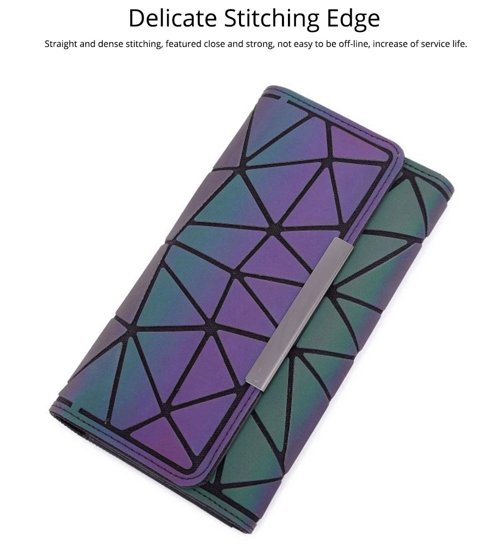 Triangle Long Wallet, Unique Luminous Geometric Embossing Lady Clutch Bag, PU Leather Lady Handbag Card Holder Phone Purse 7
