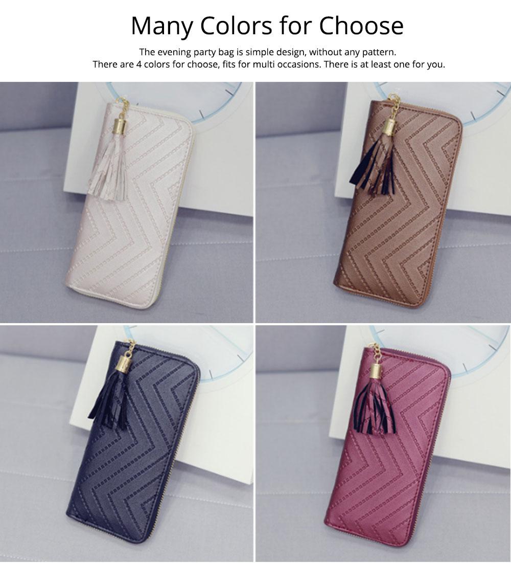 Women Handbag Business PU Leather Wallet, Zipper Tassels Card Holder Mini Purse Long Clutch, Casual Phone Bag 7