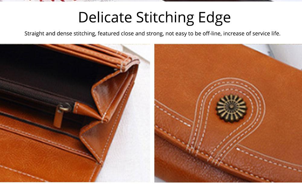 Sunflower Lady Handbag, Flip-type Wallet Card Holder Mini Purse, Metal Overedging Long Clutch Evening Party Bag 5