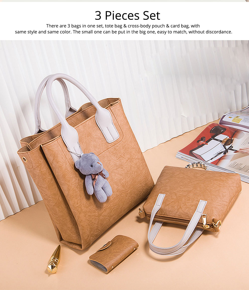 3pcs Creases PU Leather Tote Bag & Cross Body Pouch & Card Bag, Lady Accessories Solid Shoulder Pack Sets 1