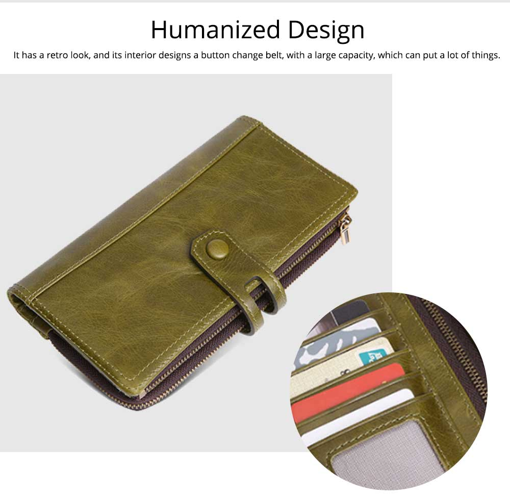 Vintage Double Zipper Long Wallet, Fashion Wallet for Ladies, High-quality First Layer of Cowhide Leather Clutch 3