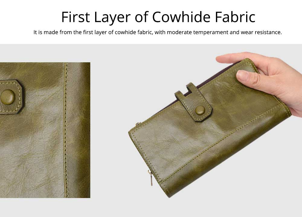 Vintage Double Zipper Long Wallet, Fashion Wallet for Ladies, High-quality First Layer of Cowhide Leather Clutch 1