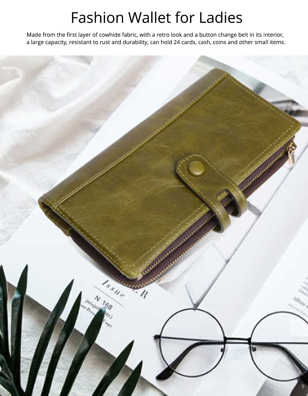 Vintage Double Zipper Long Wallet, Fashion Wallet for Ladies, High-quality First Layer of Cowhide Leather Clutch 4