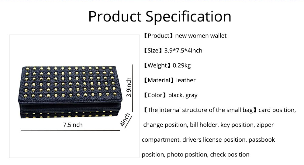 Long Double Cover Clutch, New Fashion Women wallet, European and American Pop Pun Style Rivet Handbag 7