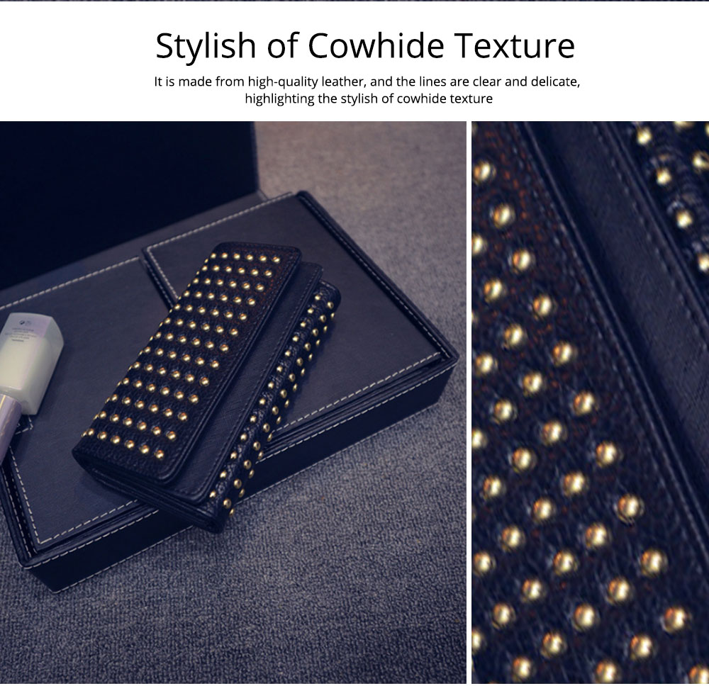 Long Double Cover Clutch, New Fashion Women wallet, European and American Pop Pun Style Rivet Handbag 4
