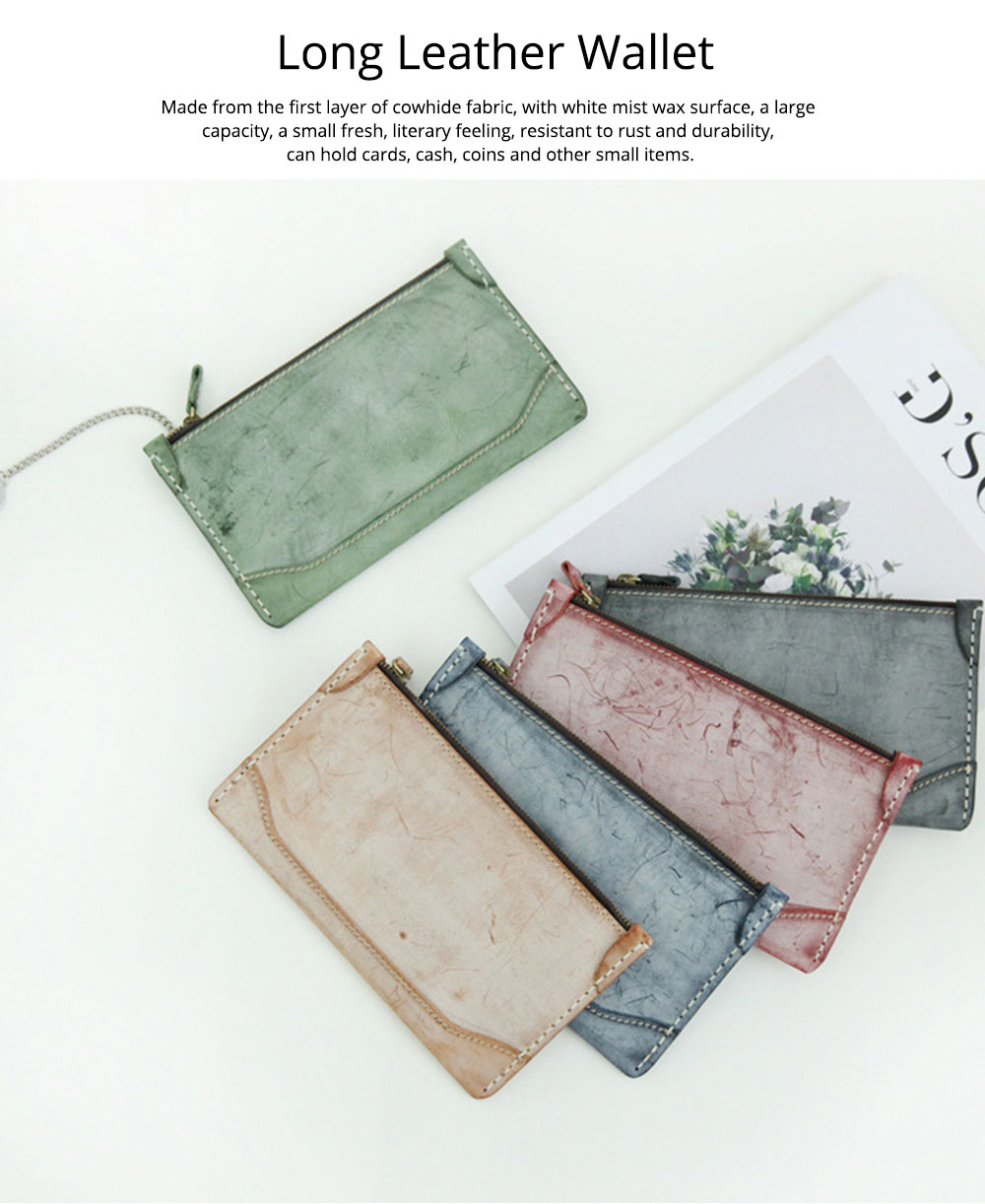2019 New Long Purse, Vintage Handmade Vegetable Tanned Ladies Clutch, Real Leather Fog Wax Clutch 0