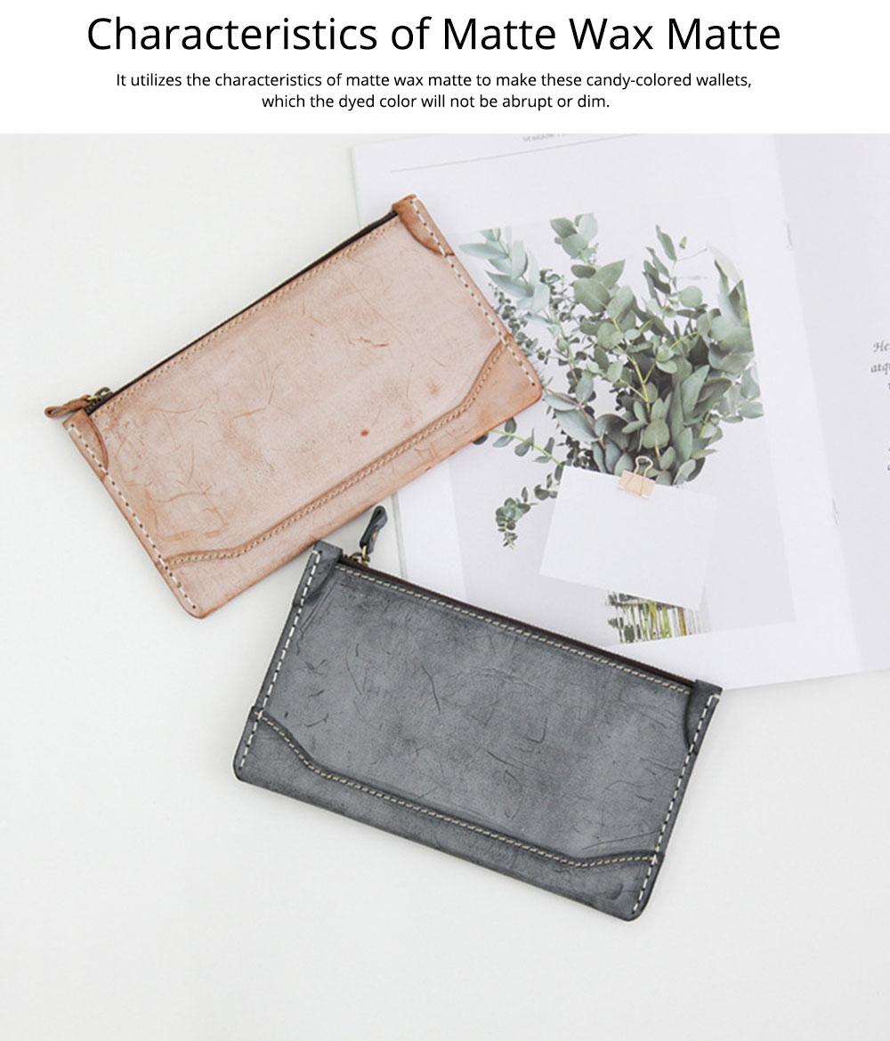 2019 New Long Purse, Vintage Handmade Vegetable Tanned Ladies Clutch, Real Leather Fog Wax Clutch 3