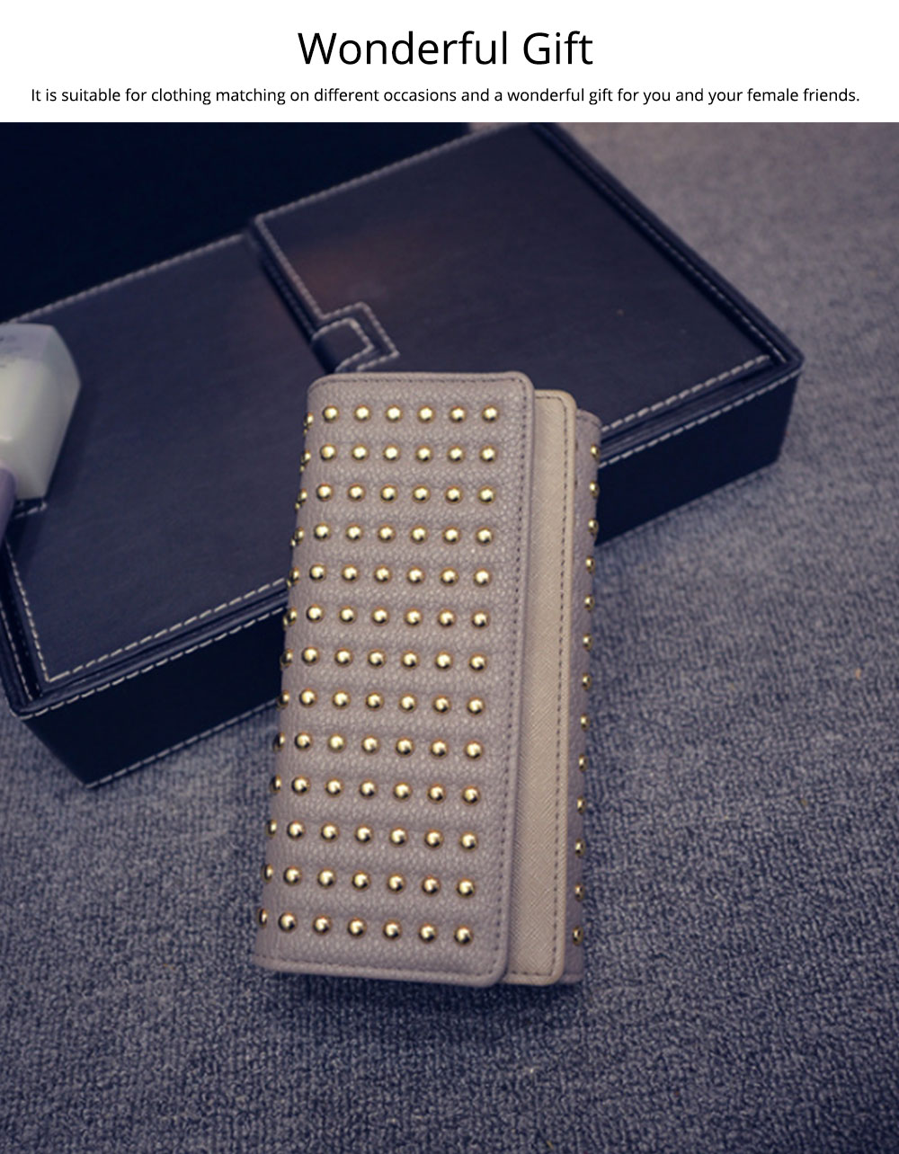 Long Double Cover Clutch, New Fashion Women wallet, European and American Pop Pun Style Rivet Handbag 3