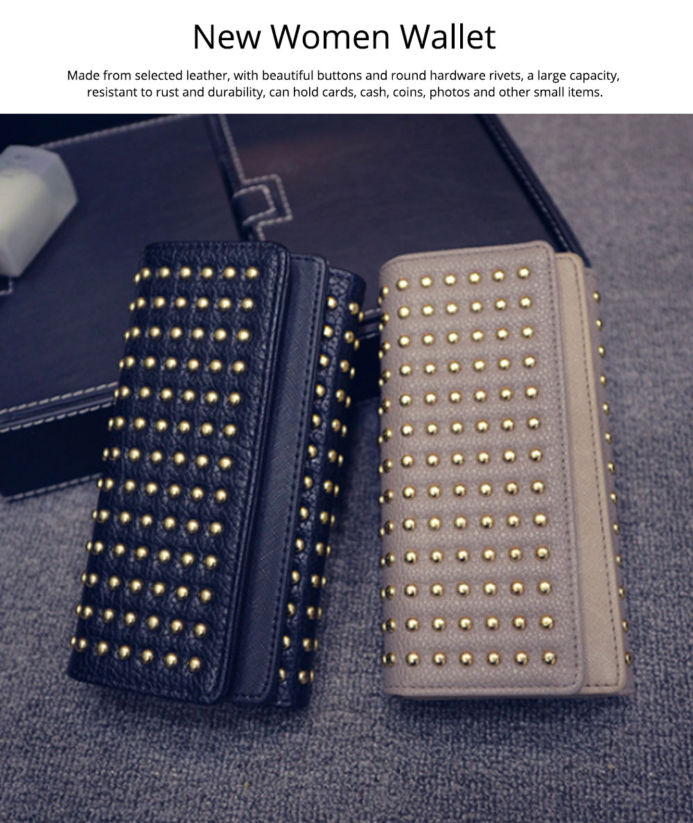 Long Double Cover Clutch, New Fashion Women wallet, European and American Pop Pun Style Rivet Handbag 0