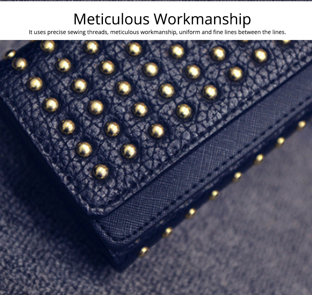 Long Double Cover Clutch, New Fashion Women wallet, European and American Pop Pun Style Rivet Handbag 1