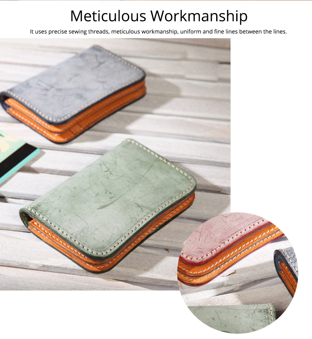 2019 New Vegetable Tanned Leather Card Bag, Japanese Style Female Coin Purse, Handmade Leather Card Holder 9