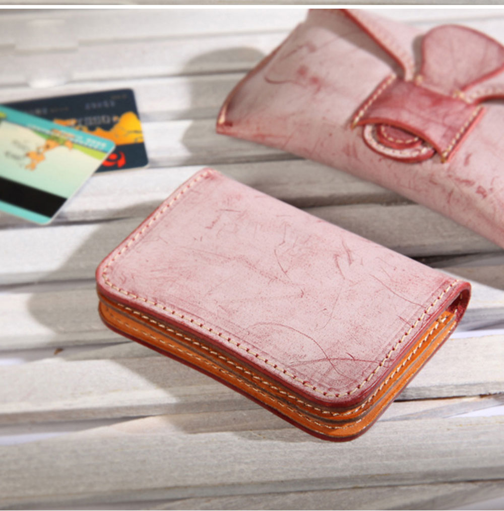 2019 New Vegetable Tanned Leather Card Bag, Japanese Style Female Coin Purse, Handmade Leather Card Holder 13