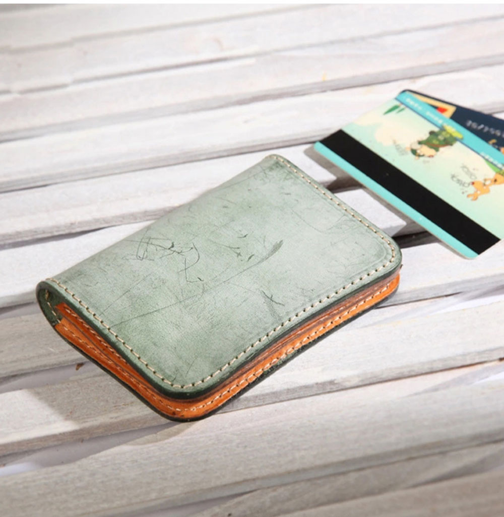 2019 New Vegetable Tanned Leather Card Bag, Japanese Style Female Coin Purse, Handmade Leather Card Holder 14