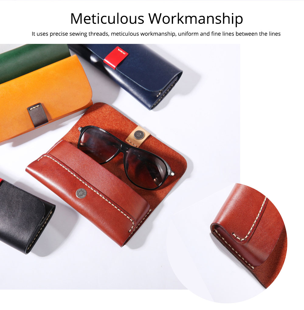 Handmade Leather Japanese Glasses Bag, Vegetable Tanned Leather Glasses Case, Hit Color 2