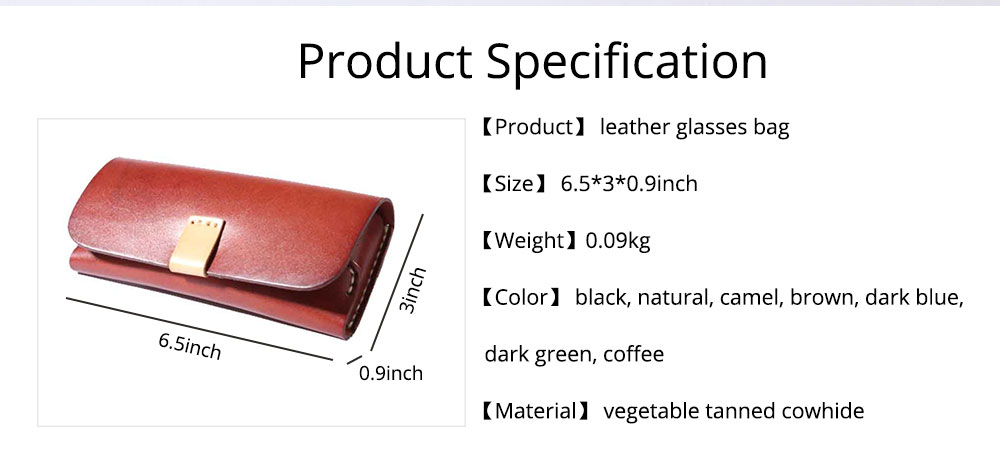 Handmade Leather Japanese Glasses Bag, Vegetable Tanned Leather Glasses Case, Hit Color 7