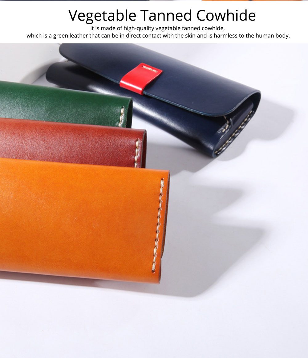 Handmade Leather Japanese Glasses Bag, Vegetable Tanned Leather Glasses Case, Hit Color 1