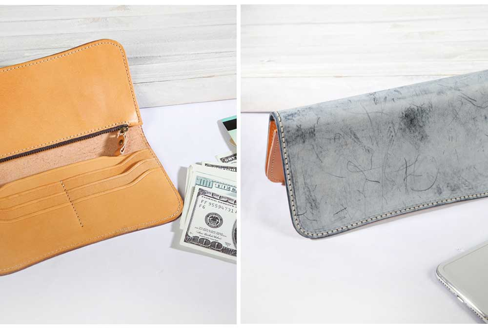 New Long Leather Clutch, Fashion Vegetable Tanned Purse for Ladies, Handmade Suede Leather Purse 5