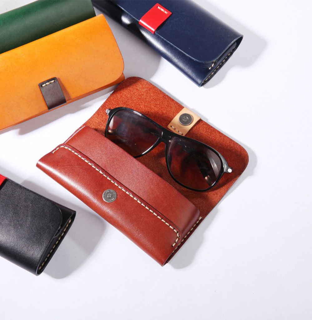 Handmade Leather Japanese Glasses Bag, Vegetable Tanned Leather Glasses Case, Hit Color 6