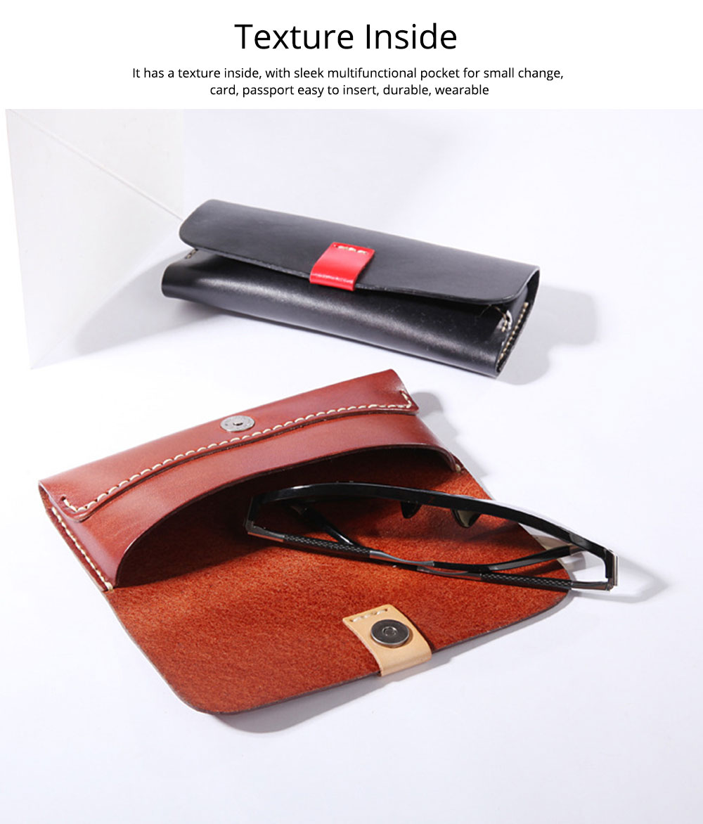 Handmade Leather Japanese Glasses Bag, Vegetable Tanned Leather Glasses Case, Hit Color 3