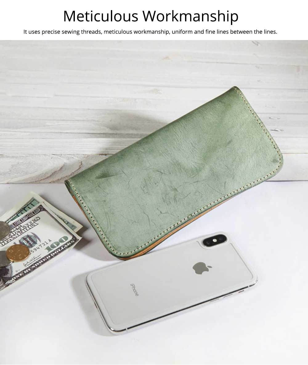 New Long Leather Clutch, Fashion Vegetable Tanned Purse for Ladies, Handmade Suede Leather Purse 4