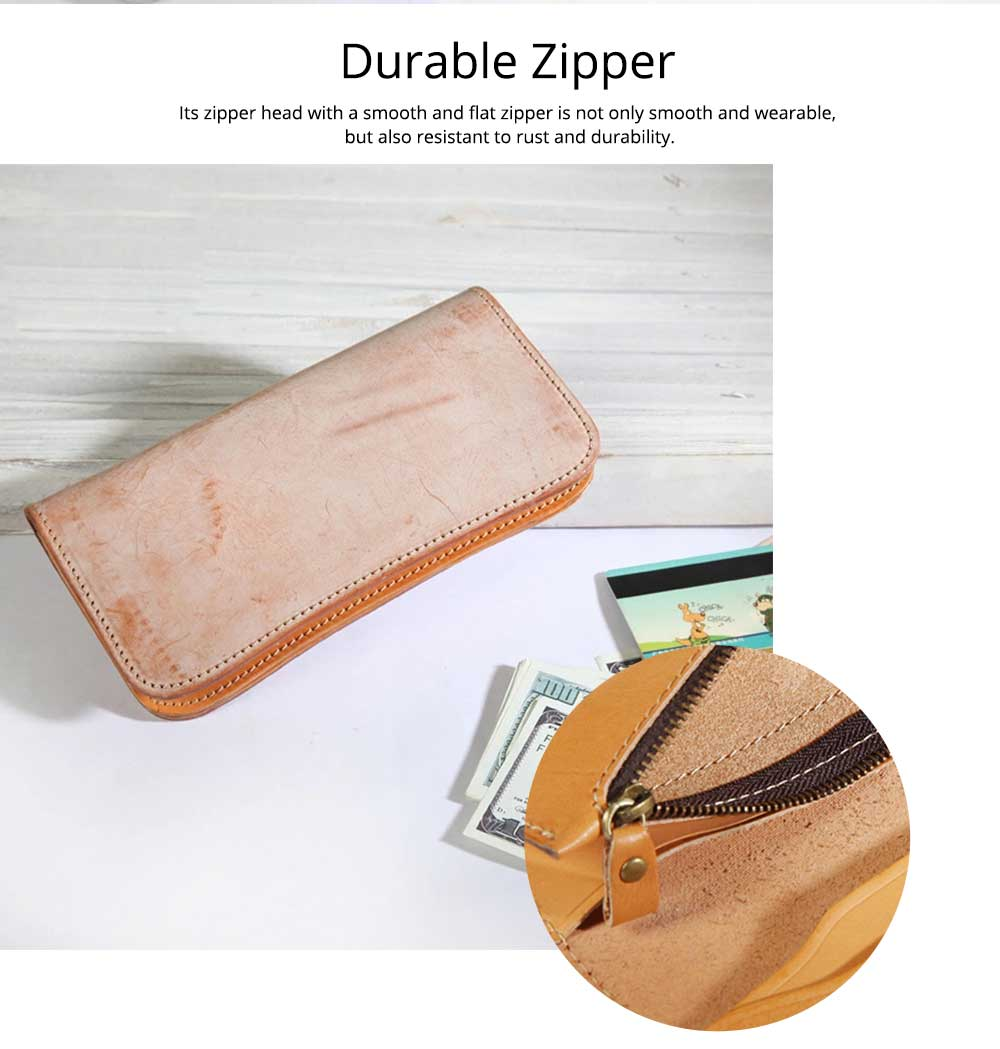 New Long Leather Clutch, Fashion Vegetable Tanned Purse for Ladies, Handmade Suede Leather Purse 3
