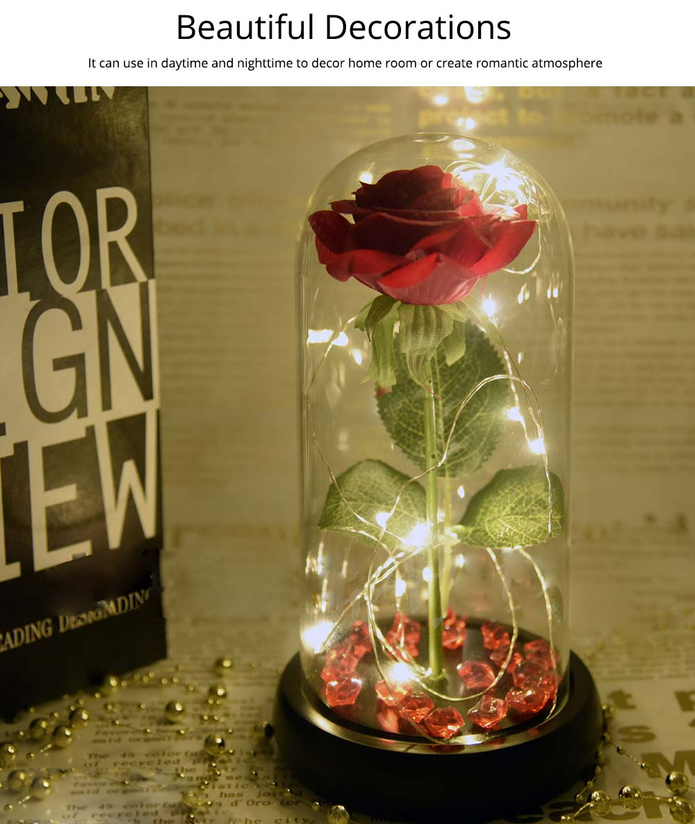 Red Rose Lamp with LED Fairy String Lights, Fallen Petals and ABS Base in A Glass Dome, Valentine's Day Best Gift for Her 10