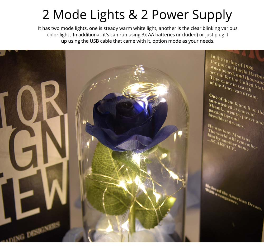 Blue Roses Lamp with LED Fairy String Lights, Fallen Petals and ABS Base in A Glass Dome, Valentine's Day Best Gift for Her 10