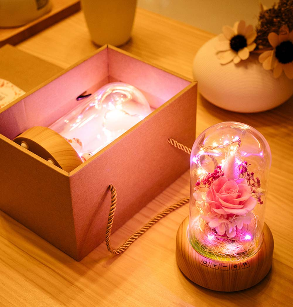 Enchanted LED Rose in Glass Dome Bluetooth Stereo Rotating Music Box for Wife Lover Girlfriend Wedding Anniversary Birthday Present 7