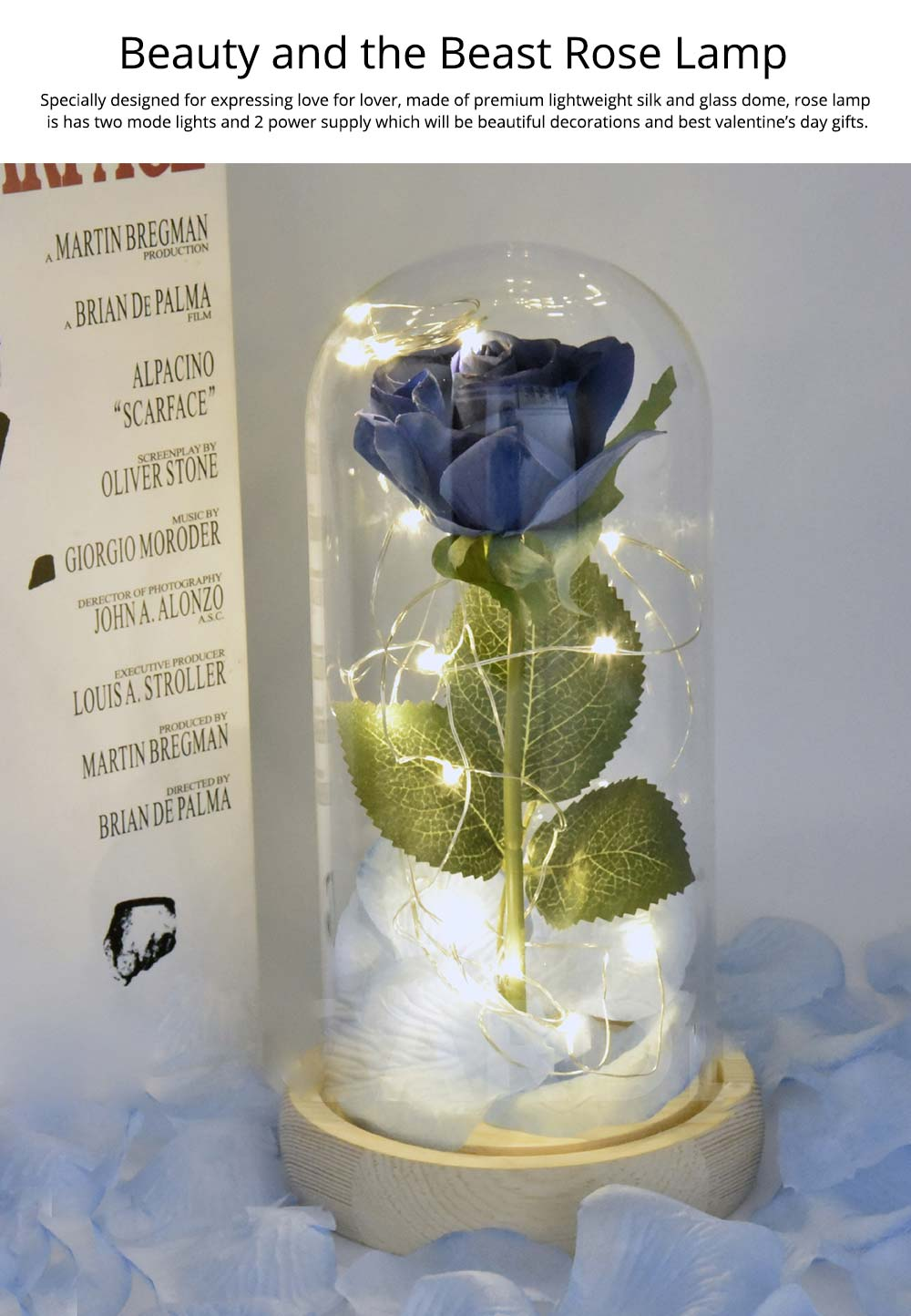 Blue Roses Lamp with LED Fairy String Lights, Fallen Petals and ABS Base in A Glass Dome, Valentine's Day Best Gift for Her 7