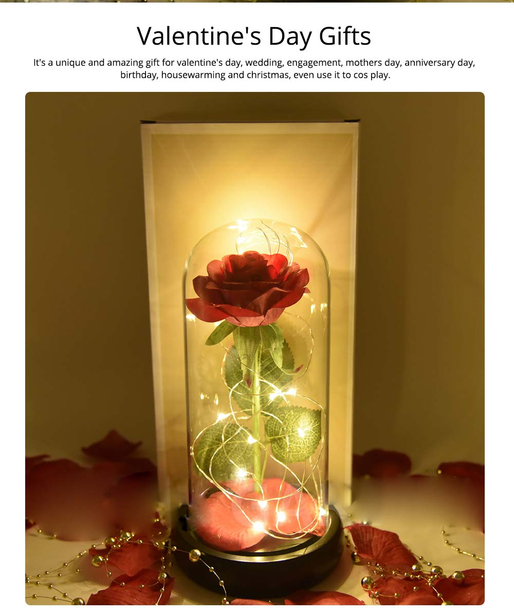 Red Rose Lamp with LED Fairy String Lights, Fallen Petals and ABS Base in A Glass Dome, Valentine's Day Best Gift for Her 11