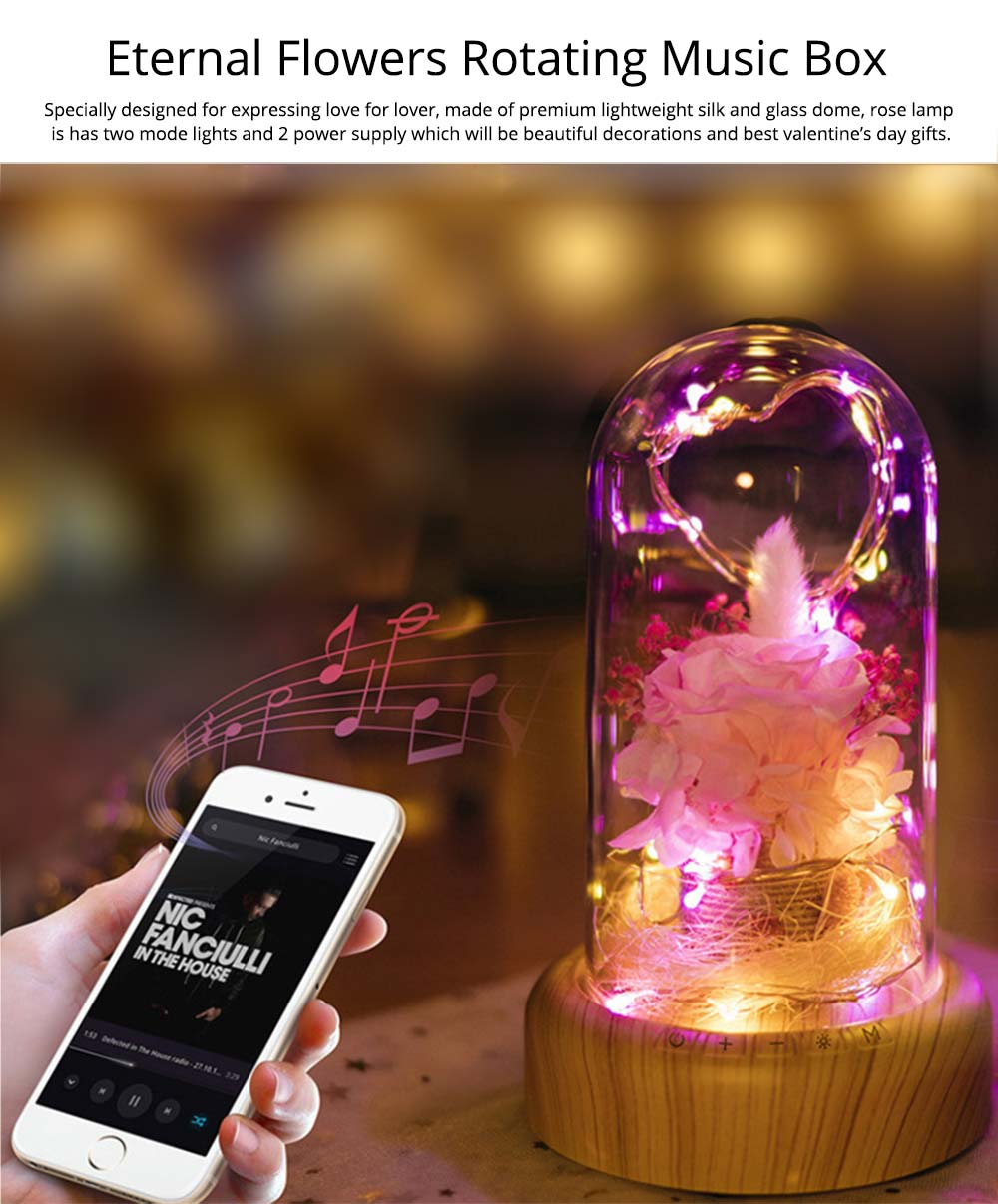 Enchanted LED Rose in Glass Dome Bluetooth Stereo Rotating Music Box for Wife Lover Girlfriend Wedding Anniversary Birthday Present 0