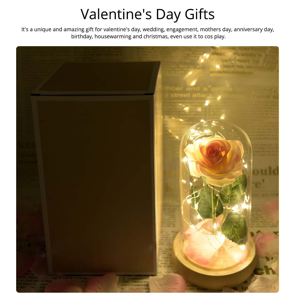 Champagne Roses Lamp with LED Fairy String Lights, Fallen Petals and ABS Base in A Glass Dome Valentine's Day Romantic Gifts 5