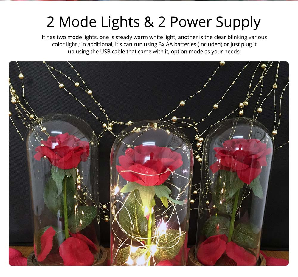 Red Rose Lamp with LED Fairy String Lights, Fallen Petals and ABS Base in A Glass Dome, Valentine's Day Best Gift for Her 9