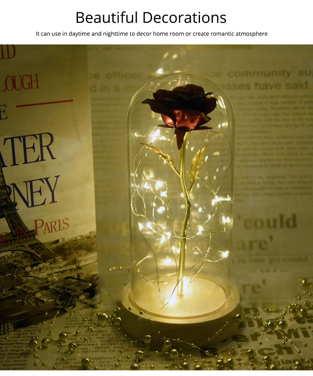 Valentines Day Presents - Gold Roses Lamp with Fairy String Lights, Fallen Petals and ABS Base in A Glass Dome 12