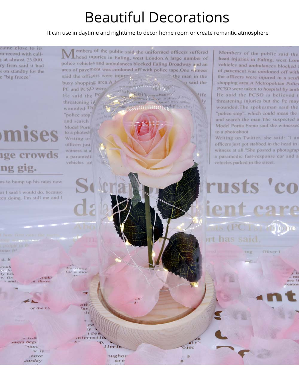 Champagne Roses Lamp with LED Fairy String Lights, Fallen Petals and ABS Base in A Glass Dome Valentine's Day Romantic Gifts 4