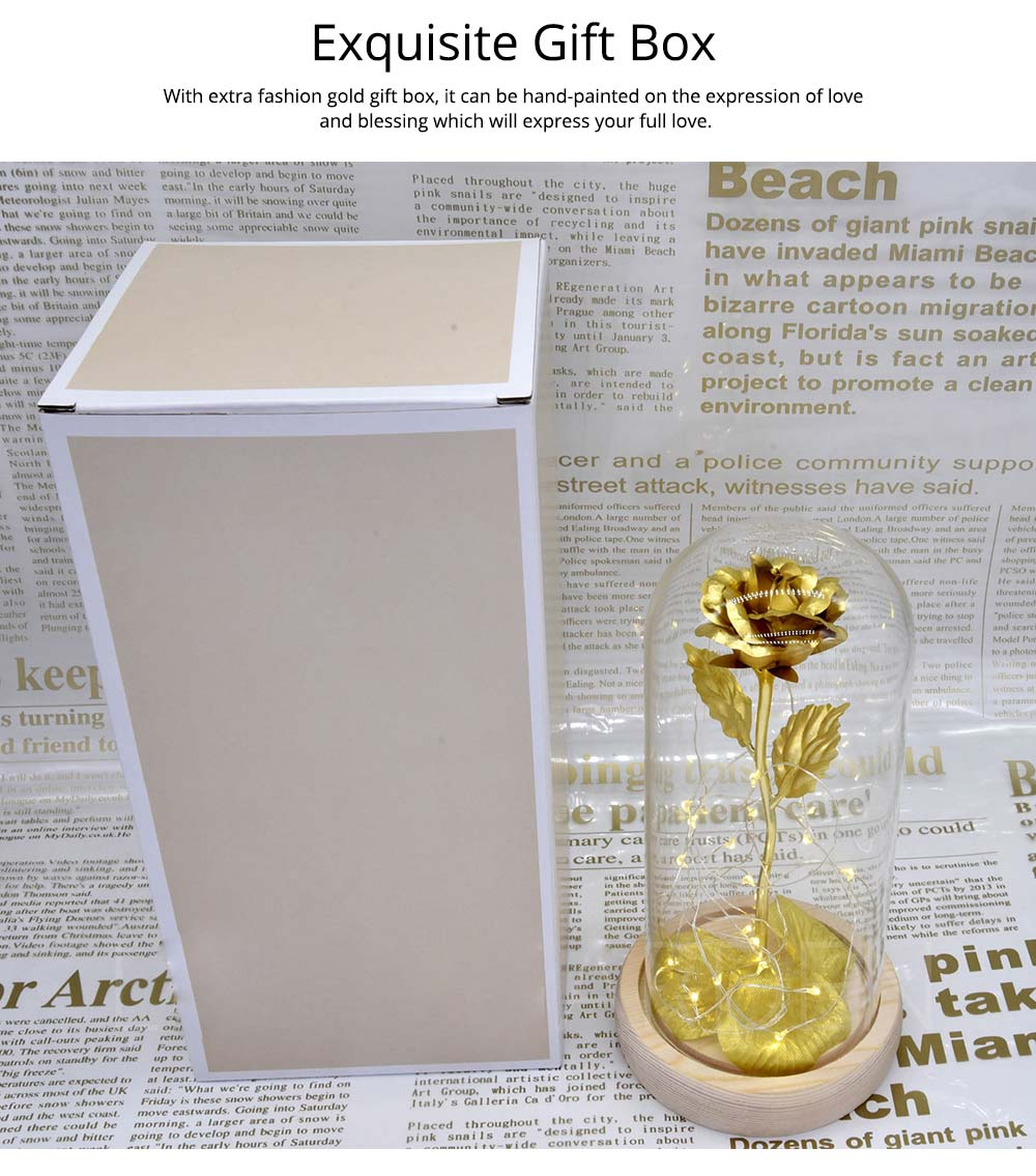 Valentines Day Presents - Gold Roses Lamp with Fairy String Lights, Fallen Petals and ABS Base in A Glass Dome 14